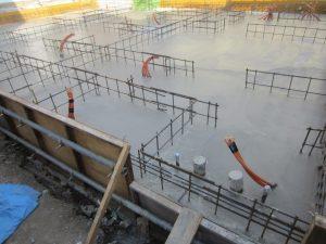 耐圧版コンクリート打設完了